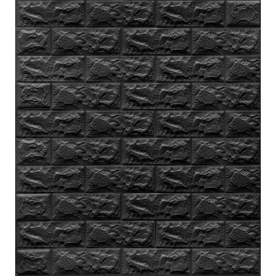 NW06 Siyah Tuğla Desen Kendinden Yapışkanlı Tuğla Esnek Duvar Paneli