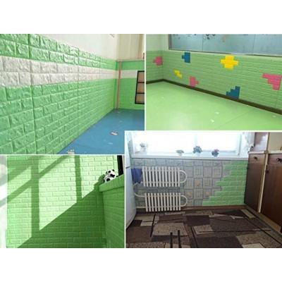 NW08 Yeşil Tuğla Desen Kendinden Yapışkanlı Tuğla Esnek Duvar Paneli