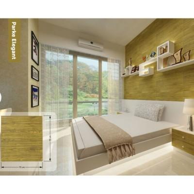 Kendinden Yapışkanlı Açık Kahverengi Ahşap Esnek Duvar Paneli Silinebilir 70x70 cm
