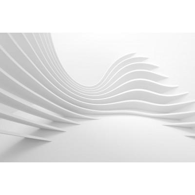 3 Boyutlu Dalgalı Çizgili Geometrik Gri Duvar Kağıdı