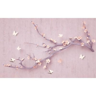 Çiçekli Ağaç Dalı ve Kelebekli Duvar Kağıdı