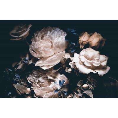 Siyah Zemin Konseptli Çiçekli Duvar Kağıdı