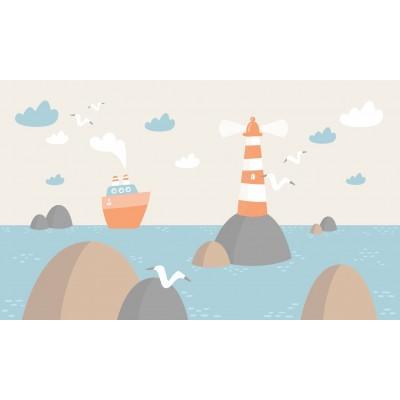 Deniz Vapur Martı Deniz Feneri Çocuk Bebek Odası Duvar Kağıdı