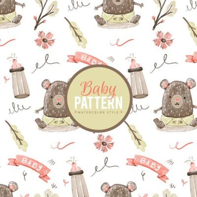 Bebek Ayı Desenli Çocuk Bebek Odası Duvar Kağıdı