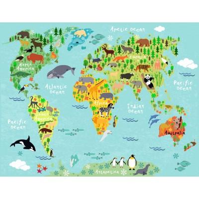 Bebek Çocuk Odası Hayvanlı Harita Duvar Kağıdı