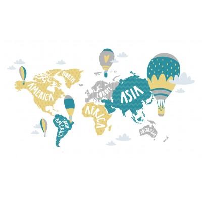 Bebek Çocuk Odası Kıtalar Harita Duvar Kağıdı