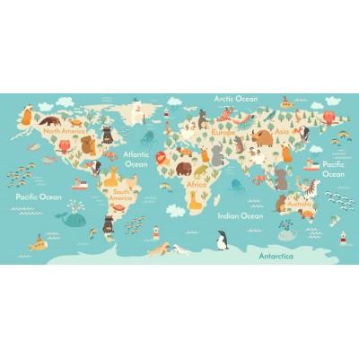 Bebek Çocuk Odası Dünya Haritası Duvar Kağıdı