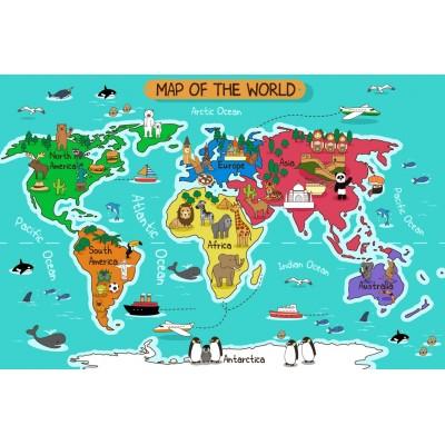 Bebek Çocuk Odası Renkli Harita Duvar Kağıdı