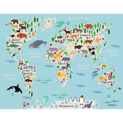 Bebek Çocuk Odası Dünya Hayvan Figürlü Harita Duvar Kağıdı