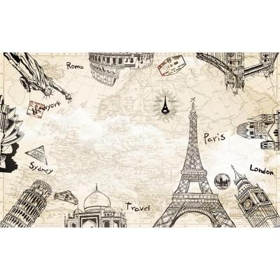 Harita Şehir Semboller Ofis Dünya Haritası Duvar Kağıdı