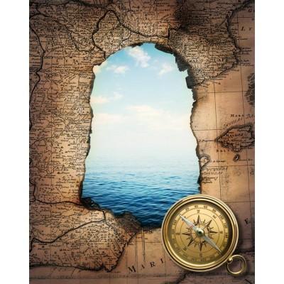Denizci Pusula Eskitme Dünya Haritası Ofis Harita Duvar Kağıdı