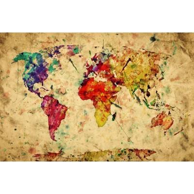 Sulu Boya Renkli Dünya Haritası Ofis Harita Duvar Kağıdı