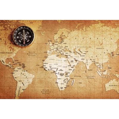 Dünya Haritası Pusula Eskitme Zemin Ofis Harita Duvar Kağıdı