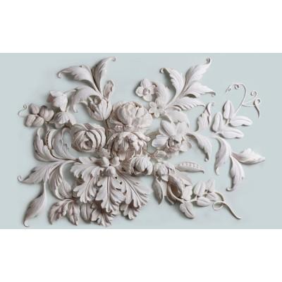 Çeşitli Çiçekler Yapraklar 3D Kabartma Desen Duvar Kağıdı
