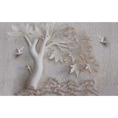 Ağaç Kuşlar Yapraklar 3D Kabartma Desen Duvar Kağıdı
