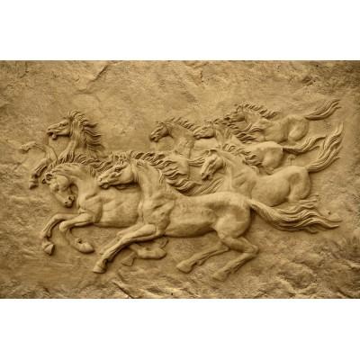 3D Kabartma Desen At Figürlü Duvar Kağıdı