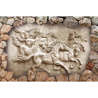 Taş Duvar İçerisinde Kabartma Koşan Atlar 3D Desen Duvar Kağıdı