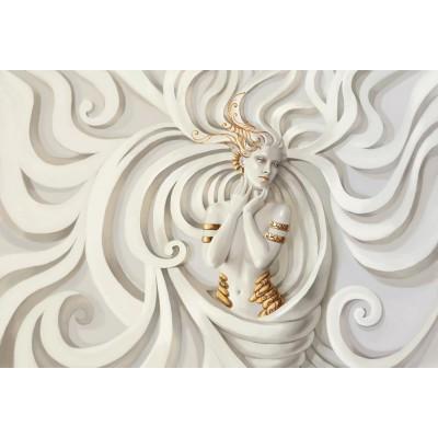 Dalgalı Desen 3D Kabartma Kadın Duvar Kağıdı