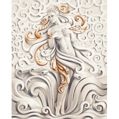 3D Kabartma Güzel Kadın Desenli Duvar Kağıdı