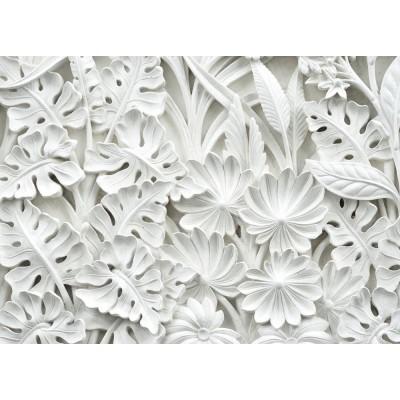 Çiçekler Yapraklar 3D Kabartma Desen Duvar Kağıdı