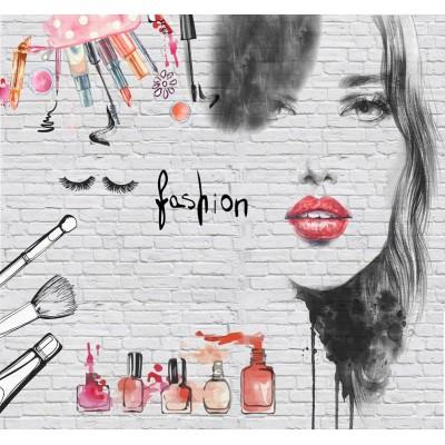 Bayan Güzellik Makyaj Salonu Tuğla Desen Duvar Kağıdı