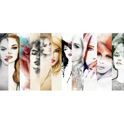 Bayan Kuaför Moda Parçalı Kadın Yüzü Duvar Kağıdı