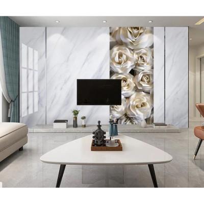 Tv Ünite Arkası Beyaz Çiçekli Mermer Deseni Özel Tasarım Duvar Kağıdı