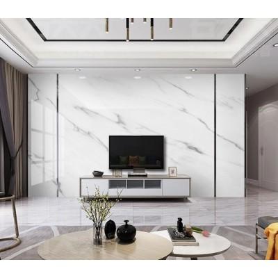 Tv Arkası Gri Damarlı Beyaz Mermer Desen Özel Tasarım Duvar Kağıdı