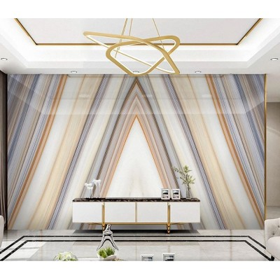 Tv Arkası Üçgen Renkli Çizgili Mermer Desenli Özel Tasarım Duvar Kağıdı