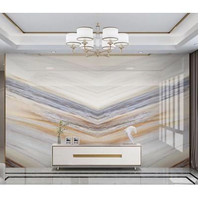 Geometrik Bej Beyaz Altın Sarısı Mermer Desenli Özel Tasarım Duvar Kağıdı