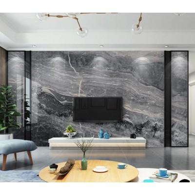 Televizyon Arkası Gri Mermer Desenli Özel Tasarım Duvar Kağıdı