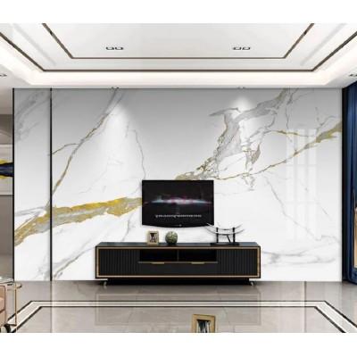Televizyon Arkası Beyaz Altın Sarısı Damarlı Mermer Deseni Özel Tasarım Duvar Kağıdı
