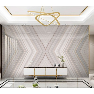 Televizyon Arkası Geometrik Bej-Beyaz Mermer Desenli Özel Tasarım Duvar Kağıdı