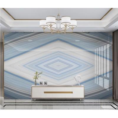 Ünite Arkası Geometrik Mavi Beyaz Mermer Desenli Özel Tasarım Duvar Kağıdı