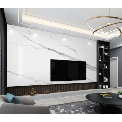 Tv Arkası Beyaz Damarlı Mermer Desenli Özel Tasarım Duvar Kağıdı