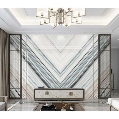 Televizyon Arkası Geometrik Gri Bej Beyaz Mermer Desenli Özel Tasarım Duvar Kağıdı