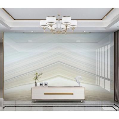Tv Ünite Arkası Geometrik Açık Mavi Beyaz Mermer Desenli Özel Tasarım Duvar Kağıdı