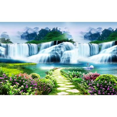 Şelale ve Çiçekli Yol Doğa Duvar Kağıdı