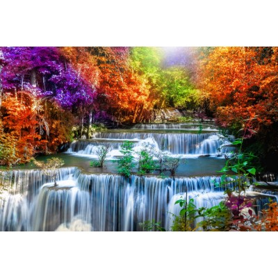 Şelale Renkli Ağaçlar Manzara Duvar Kağıdı