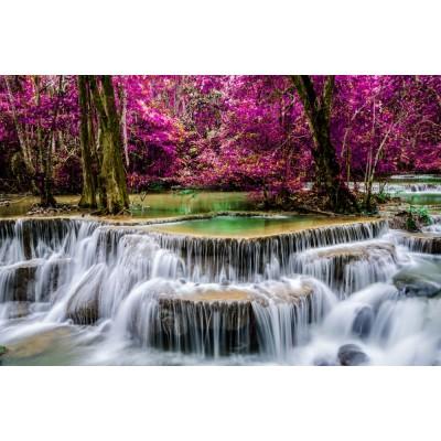 Şelale ve Mor Yapraklı Ağaçlar Duvar Kağıdı