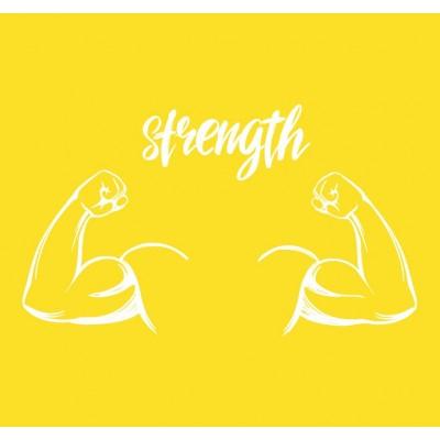 Strength Kaslı Vücut Sarı Zemin Spor Salonu Duvar Kağıdı