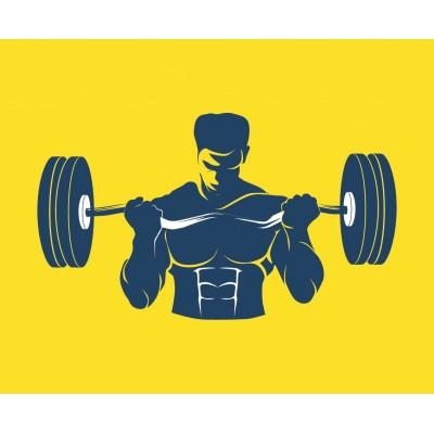 Halter Kaldıran Adam Gym Sarı Zemin Spor Salonu Duvar Kağıdı