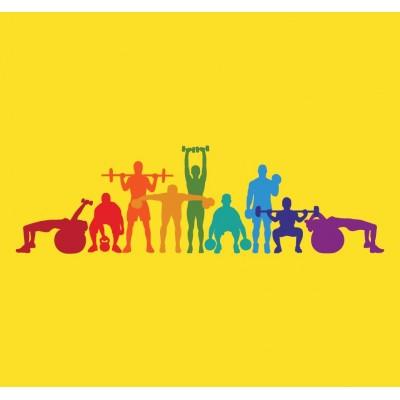 Spor Yapan İnsanlar  Sarı Zemin Spor Salonu Duvar Kağıdı