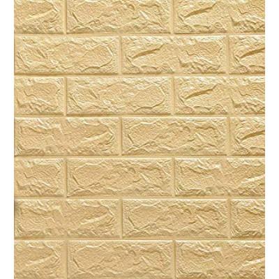 Sarı Tuğla Desenli Kendinden Yapışkanlı Yastık Esnek Sünger Duvar Paneli