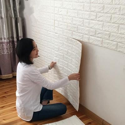 Krem Tuğla Desenli Kendinden Yapışkanlı Esnek Sünger Yastık Duvar Kaplama Paneli Fiyatları