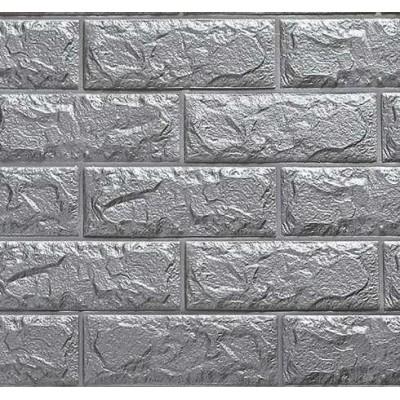 Açık Gri Gümüş Silver Tuğla Desenli Kendinden Yapışkanlı Ucuz Dekoratif Esnek Sünger Fiber Duvar Paneli Kaplama