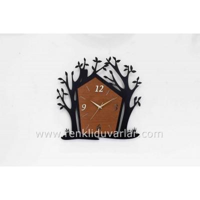 Dekoratif Ağaç Temalı Saat