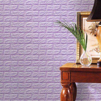 Kendinden Yapışkanlı Lila Esnek 8,5 mm Yastık Tuğla Duvar Paneli Silinebilir 70x77 cm