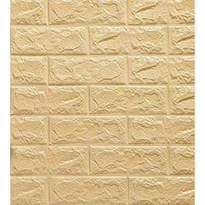 Kendinden Yapışkanlı Sarı Tuğla Duvar Paneli Silinebilir 70x77 cm Dekoratif Pratik Kaplama Usta Gerektirmez